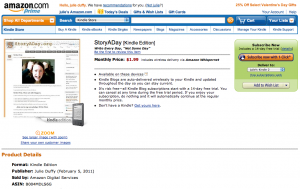 StoryADay Blog in Amazon's Kindle Store screenshot