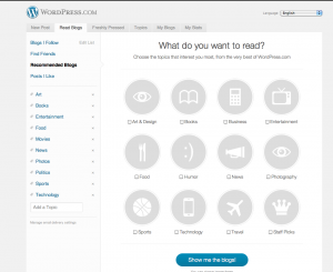 after sign-up at wordpress.com