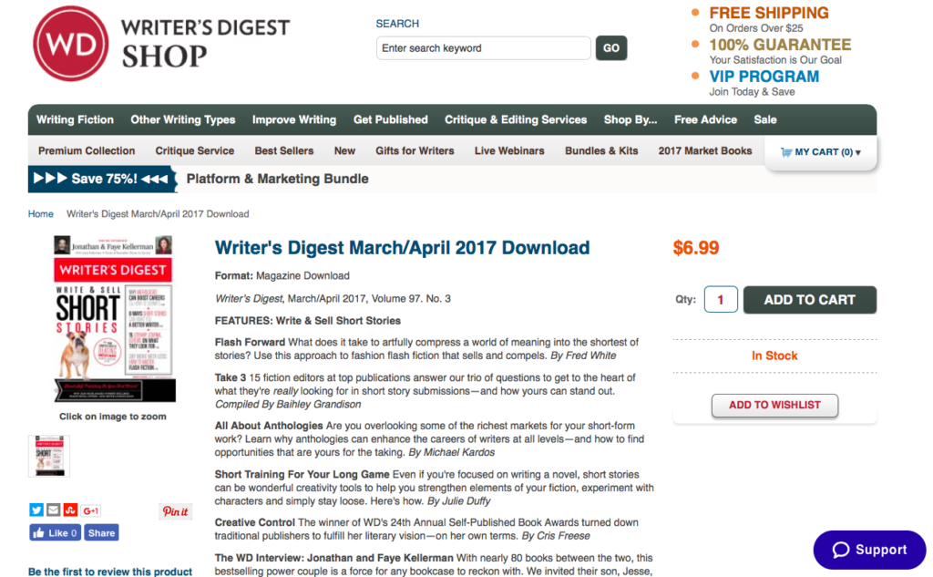 Writer's Digest April/May 2017 issues screenshot