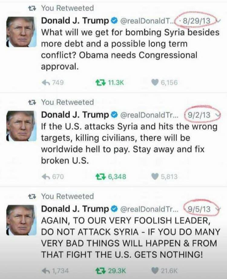 Trump tweeting about NOT attacking Syria